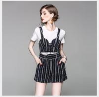 Женский комплект, новинка 2018 года, летний повседневный комплект из 3 предметов, женская верхняя одежда, модная футболка с круглым вырезом и к