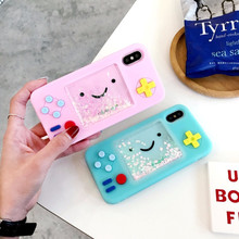 Smiley Game Machine Dynamic Liquid Quicksand Phone Case For iphone 7 Xs Xr 6 8 Plus Cute Funny Cartoon Soft Silicone Cover