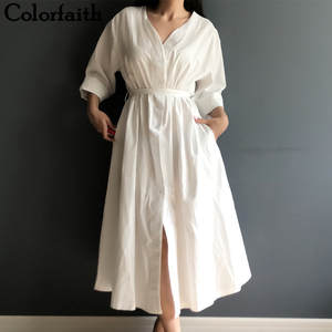 Colorfaith New 2019 Women Dresses Spring Summer Cotton Linen Elegant Ladies Pleated Long White Dresses V Neck Lace Up Bow DR1086