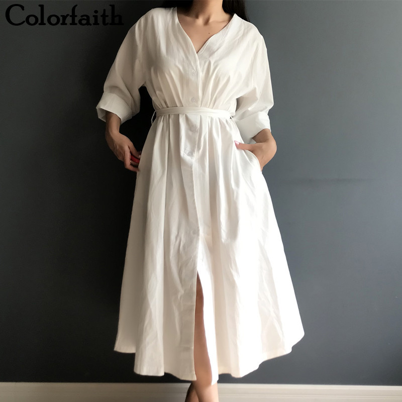 Colorfaith New 2019 Women Dresses Spring Summer Cotton And Linen Elegant Pleated Long White Dresses V Neck Lace Up Bow DR1086