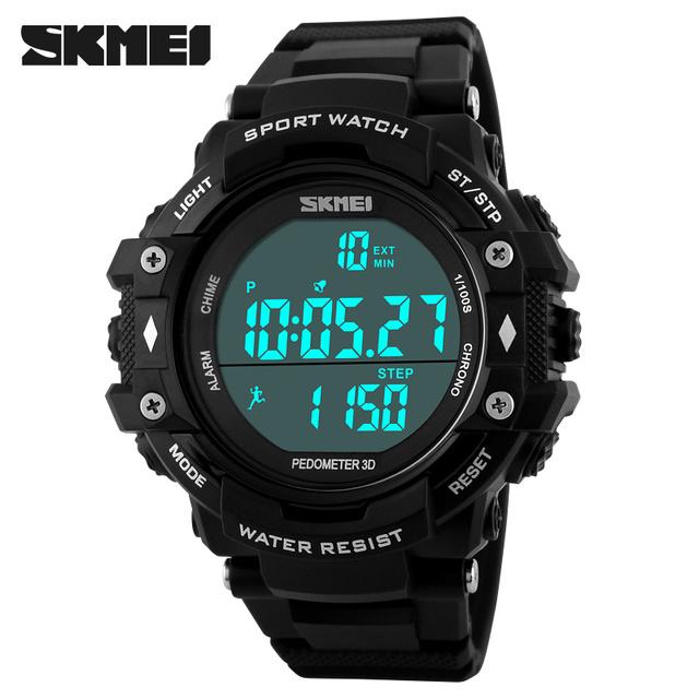 SKMEI Hombres Relojes Podómetro Podómetro LED Reloj Digital Resistente Al Agua Deporte Al Aire Libre Militar Ocasional Reloj Relogios
