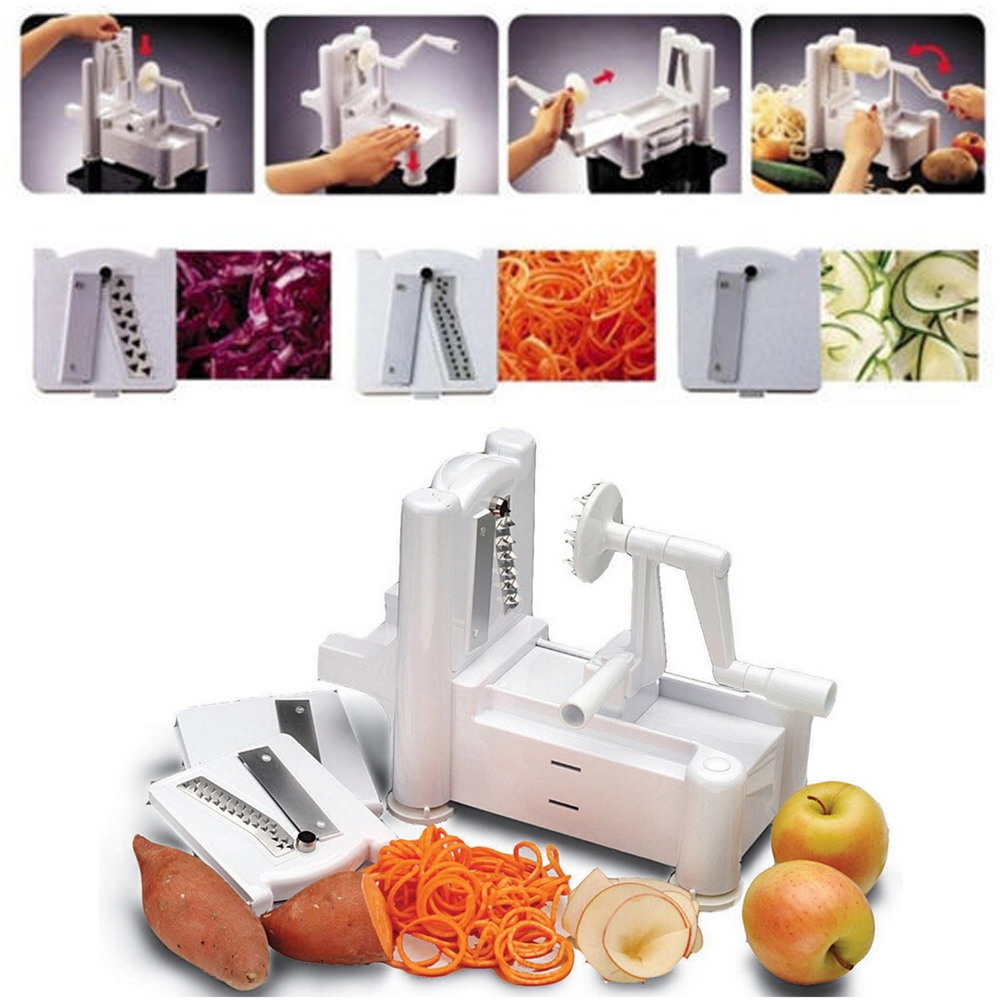 Kitchen Tool 3 in 1 Slicer Julienne Cutter Spiral Vegetable Slicer Spiralizer Fruit Veggie Chopper Cutter Twister Peeler