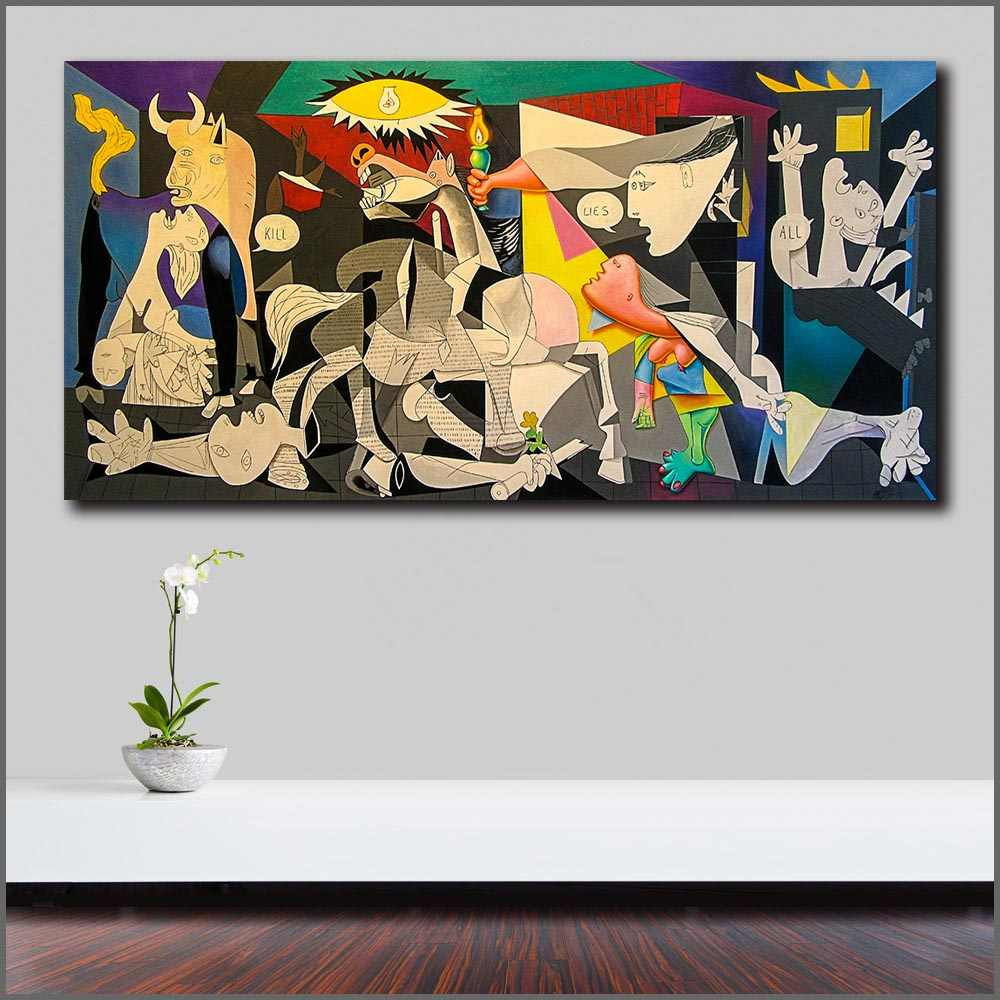 Wlong Pablo-Picasso-Guernica Pop Art Canvas Painting Print Living Room Home Decor Modern Wall Art Oil Painting Poster Unframed