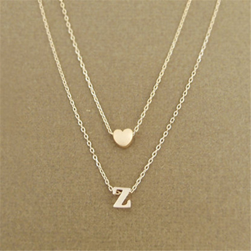 Fashion Heart Initial Letter Name Necklace Personalized Gold Silver Double Layered Chain Necklaces Women Jewelry Girlfriend Gift