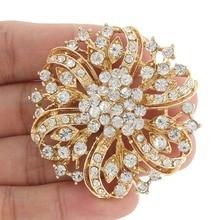 Bella Fashion Clear Flower Droplet Rhinestone Brooch Pins Austrian Crystal Brooches For Wedding Women Party Jewelry Gift