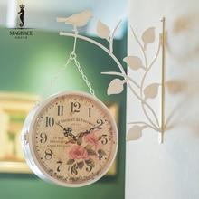 modern brief side hanging double side wall clock bird natural bracket flower clock face retro vintage