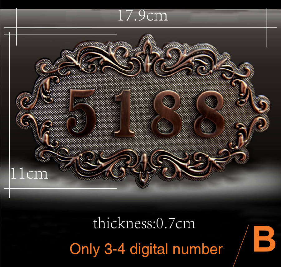 House Number; European style Door Sign; Gate Number;Custom-made;3 to 4 numbers;Apartment,House,Hotel,Villa door plate, 2 styles 3 digits new classical european style pure copper house number card villa apartment number four digits free shipping