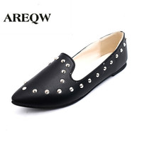 Fashion Women Flats Pointed Toe Rivet Shoes Woman Shallow Retro Work Shoes European American Street Shoot