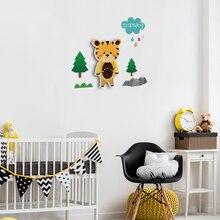 Cartoon Tiger Silent Wall Clock PVC DIY Wall Clock Nursery Room Wall Decals Bedroom Creative Digital Watches Kid Room Decor