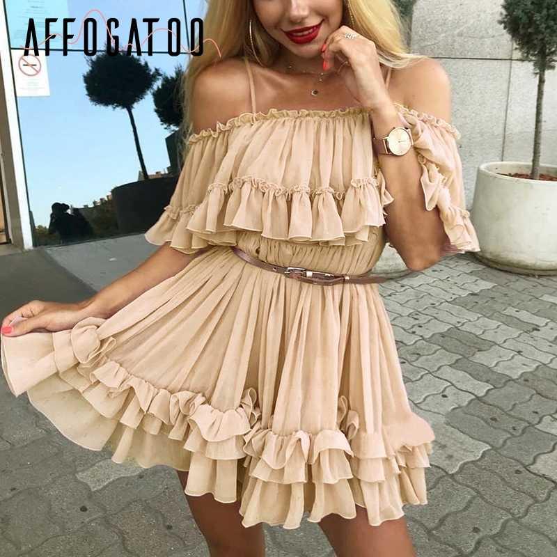 Afogafoo элегантное Плиссированное шифоновое летнее розовое платье с оборками женское сексуальное голубое платье с открытыми плечами женские праздничные пляжные мини-платья