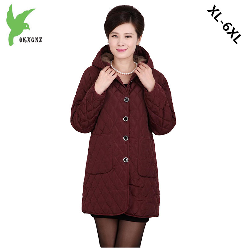 Plus Size 6XL Middle Elderly Women Cotton Jacket Warm Coat Fashion Hooded Medium Length Loose Mother Flocking Costume OKXGNZ 984 2017 winter women plus size in the elderly mother loaded cotton coat jacket casual thickening warm cotton jacket coat women 328