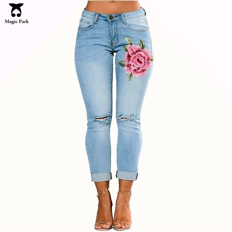 MagicPark Embroidered Jeans With Roses Elastic Boyfriend Hole Ripped Women Pants Cool Denim Vintage Straight Jeans Casual Female new female casual sexy rose denim jeans with embroidery ripped vintage pencil jeans for women cuffs long pants plus size 2xl