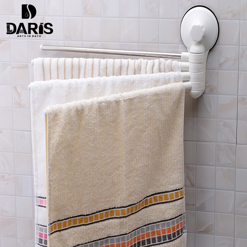 Sdarisb 4 Swivel 360 Degree Bathroom Towel Rack Strong Suction Shelf Rotating Wall Removable