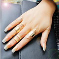 Zinc Alloy Gold Plated Ring Set for 5pcs Fashion Girls Gift Jewelry Popular Style Rings for Women Finger Knuckle Accessories