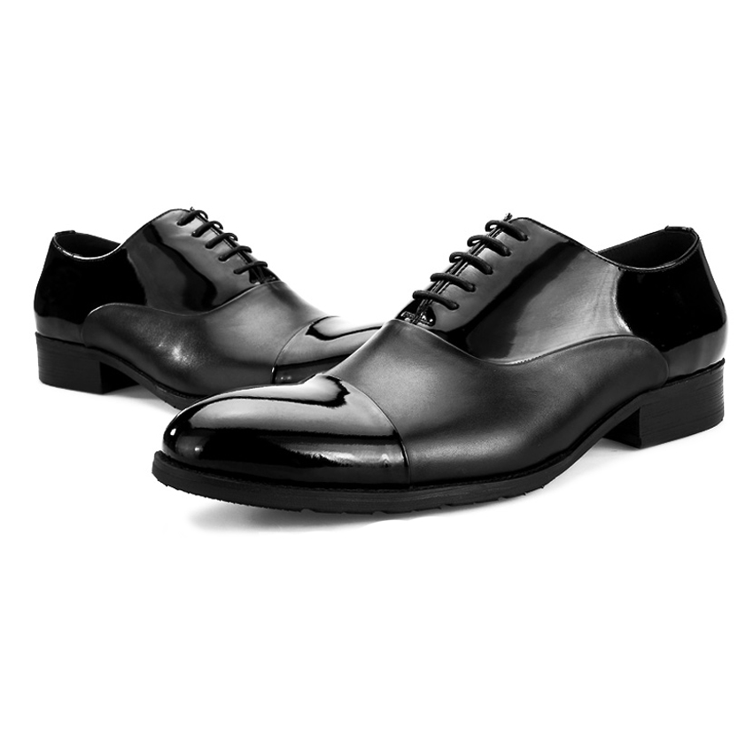 New Arrival Patent Leather Mens Formal Dress Oxfords Round Toe Lace-up Male Party Flats Luxury Designer Shoes For Man BQL65