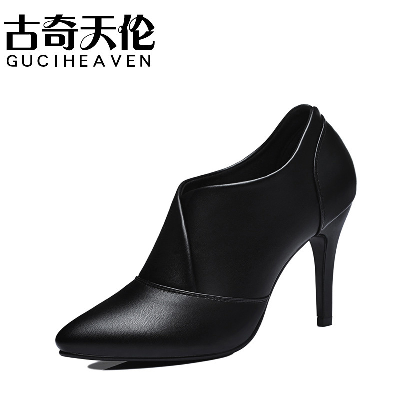 Guciheaven 8470 Pointed Toe Thin High Heel Casual Shoes,Comfortable Leather,Nude Shoes Rubber Soles,Concise Fashion Women Pumps