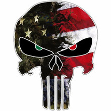 Car sticker Punisher Skull Reflective Personalized Car Stickers Motorcycle Decals 7 5 12 5cm alien peace sign we come in peace body car sticker fun personalized car stickers motorcycle decals ct 806