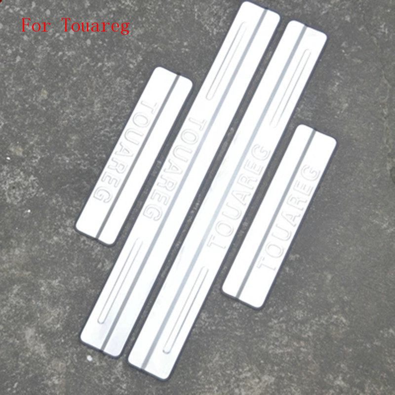 Stainless Steel Door Sill Scuff Plate Threshold 4pcs/set For Volkswagen Touareg 2010 2012 2014 2015