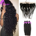 13x4 Malaysian Deep Wave Ear To Ear Lace Frontal Closure With 3 Bundles 10A Virgin Malaysian Deep Wave Curly Hair With Frontal