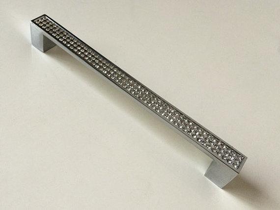 """6 1/3 """" grande gaveta alças de Metal quadrado de cristal de vidro armário de cozinha do punho puxa maçanetas / mobiliário Hardware Bling 160 mm"""