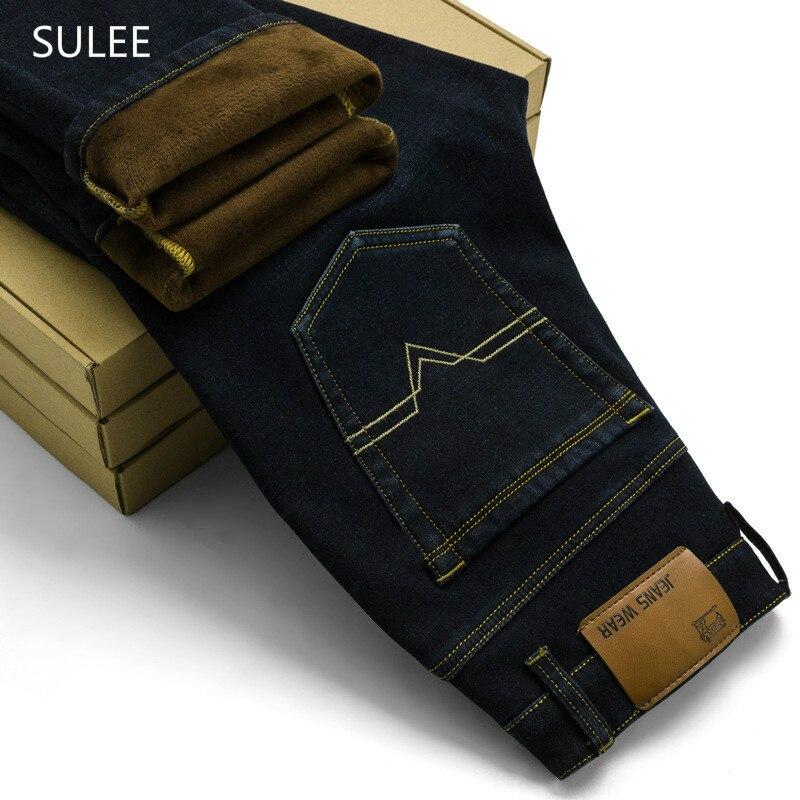 Sulee 2018 nuevas actividades para hombres pantalones vaqueros cálidos de alta calidad famosa marca otoño invierno cálido flocado cálido suave hombres Jeans