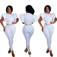 Super sexy slim hip bandage bodycon jumpsuit white rompers women jumpsuit summer women clothing J7438K