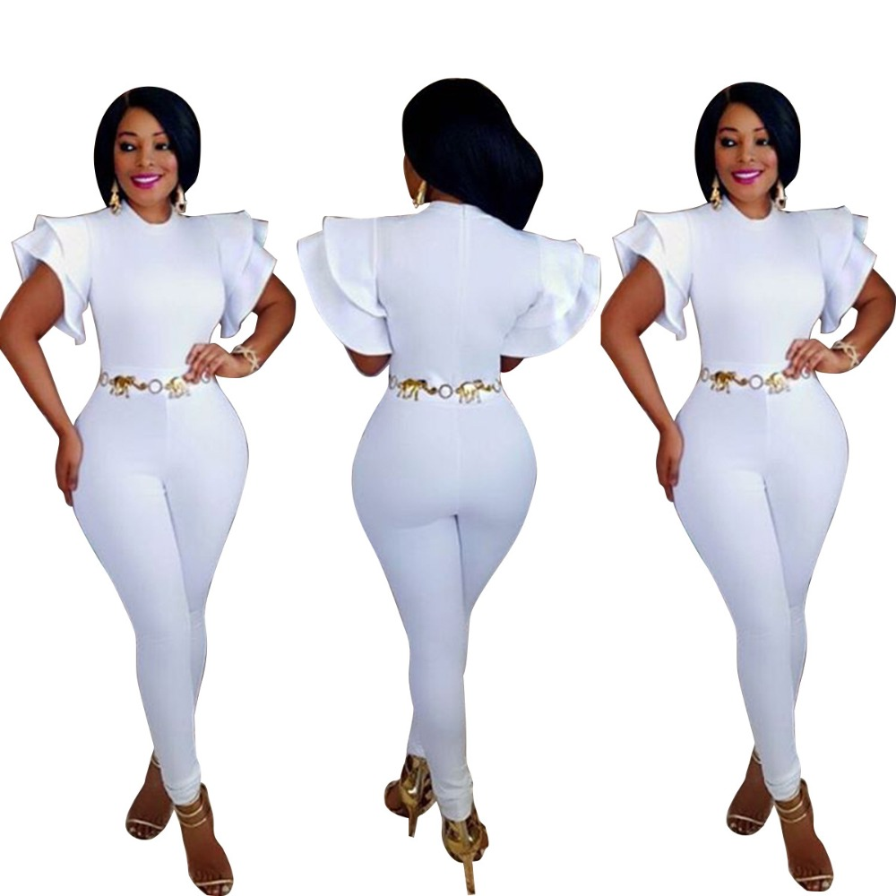 Super sexy slim hip bandage bodycon jumpsuit white rompers women jumpsuit summer women c ...