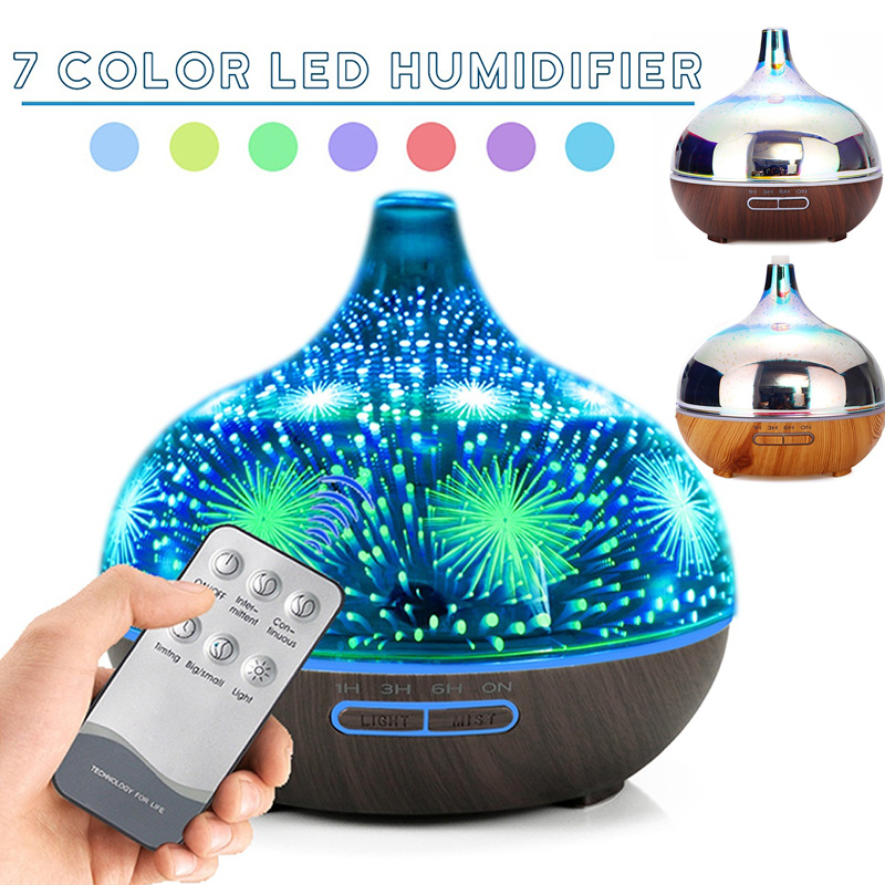 400ml Remote Control Air Humidifier Aromatherapy Essential Oil Aroma Diffuser Ultrasonic  Air Freshener 3D Glass+Wood Grain LED400ml Remote Control Air Humidifier Aromatherapy Essential Oil Aroma Diffuser Ultrasonic  Air Freshener 3D Glass+Wood Grain LED