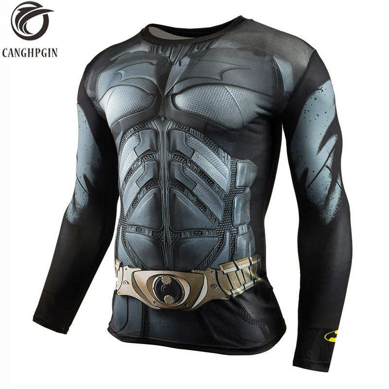 3D Anime Batman T Shirt Long Sleeve Sport Shirt Men Fitness Compression Tights Men's Running T-shirts Rashgard Man Gym Clothing yd new long sleeve sport shirt men tights with zipper quick dry men s running t shirt sportswear mens t shirts fitness rashgard
