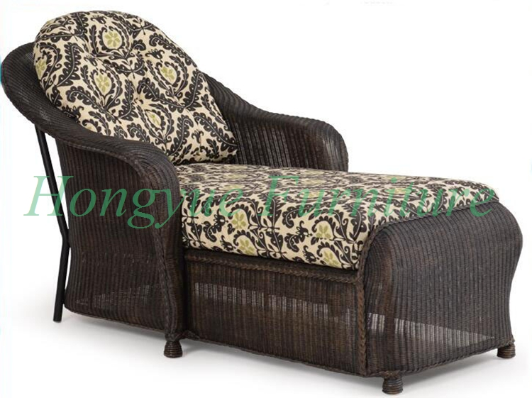 outdoor brown rattan material chaise lounge furniture sets with