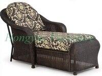 Outdoor marrone materiale rattan chaise lounge set di mobili con cuscini