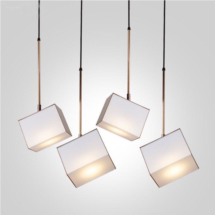 Lampe Cube suspendue 13*18 cm, revêtement doré ou marron
