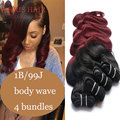 Ombre Brazilian Hair Body Wave 4 Bundles Black And Burgundy Hair 2 Tone 99j Brazilian Virgin Hair Red Human Hair Chris Products