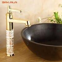 BAKALA Deck montiert messing und keramik wasserhahn Bad Becken wasserhahn Mischbatterie Gold Waschbecken Wasserhahn Bad Becken Waschbecken Wasserhahn B1040M