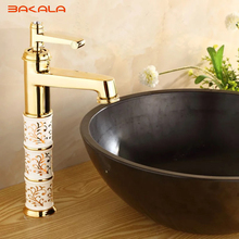 BAKALA Deck mounted brass and ceramic faucet Bathroom Basin faucet Mixer Tap Gold Sink Faucet Bath Basin Sink Faucet B1040M flg basin faucet ceramic plate spool bathroom faucet brushed nickel deck mounted stainless steel basin faucet basin mixer ss002y