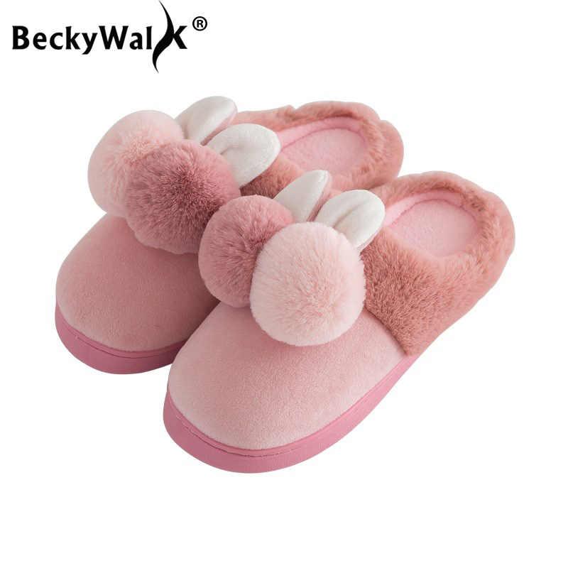 3f8372566 BeckyWalk Children Cotton Slippers Winter Girls Baby Cartoon Indoor Shoes  Boys Warm Non-slip Home