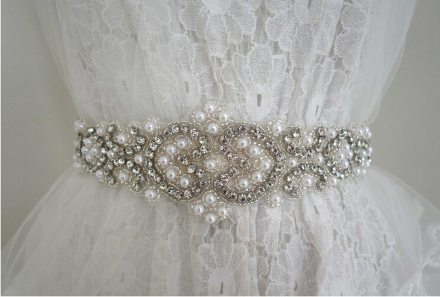 Wedding Belt with Long Ribbon Sash for Wedding Dress Accessories Crystal Rhinestones Diamond In Stock Import China High Quality