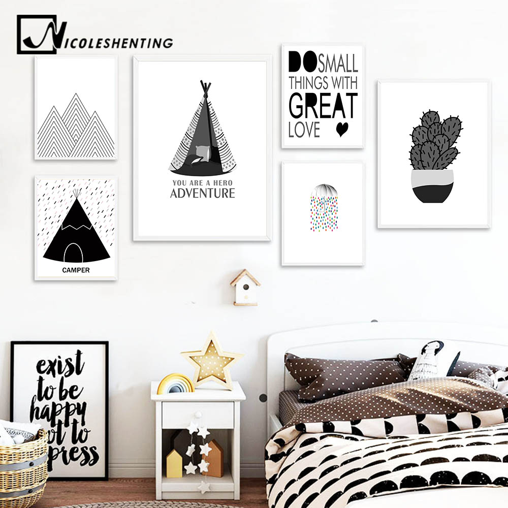 Us 3 41 39 Off Children Funny Quote Poster Cactus Wall Art Canva Prints Cactus Painting Nursery Pictures For Kids Bedroom Decoration Home Decor In