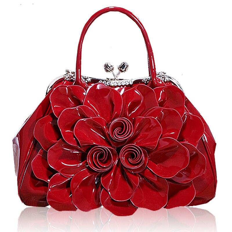 ФОТО Rose large flower tote bag high-grade diamond patent leather handbag portable shoulder bag women messenger bag waterproof bag