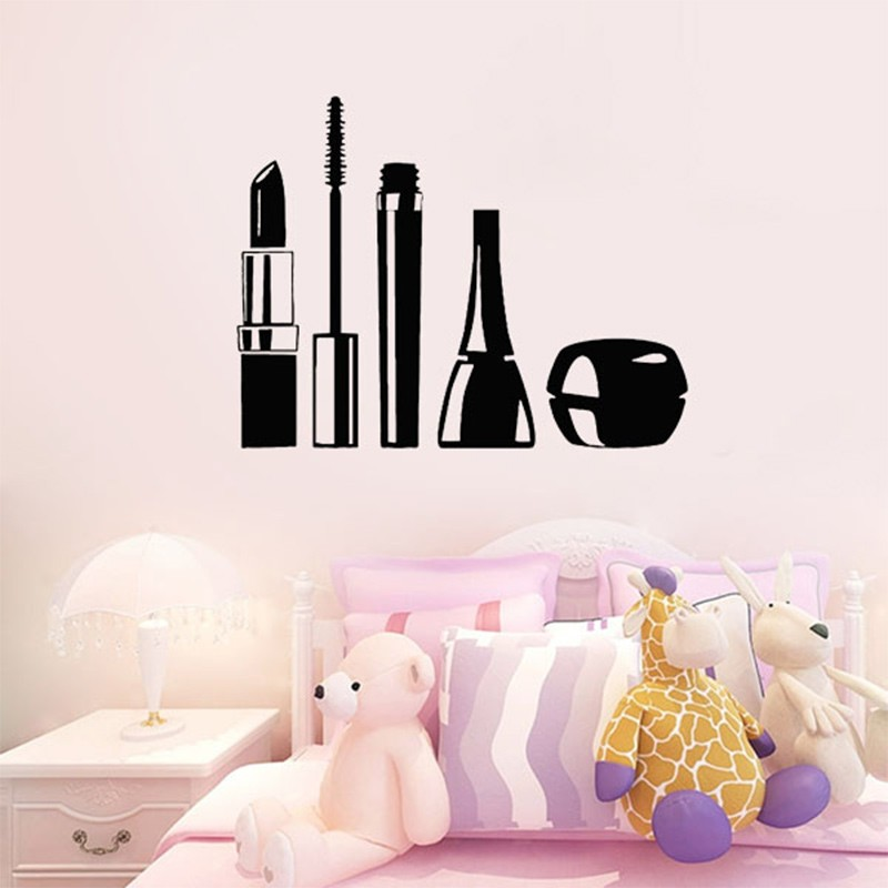 high quality beauty salon cosmetics wall stickers for living room art decals decoration makeup girl vinyl beauty room furniture