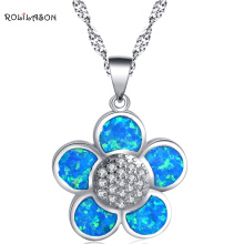 цена на ROLILASON Crystal Fantastic flower desgin blue fire opal silver 925 Pendant Necklaces for women fashion jewelry OP768