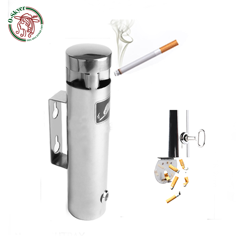 O-SKYER Outdoor Wall Ashtray Stainless Steel 304 Wall Mounted Cigarette Ash Bin Public Ashtray for Storage Cigarette Ash ButtsO-SKYER Outdoor Wall Ashtray Stainless Steel 304 Wall Mounted Cigarette Ash Bin Public Ashtray for Storage Cigarette Ash Butts