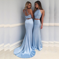 Elegant Halter Two Piece Prom Gowns Custom Made Beading Top Evening Gowns Backless Mermaid Dresses Long Formal Party Dresses