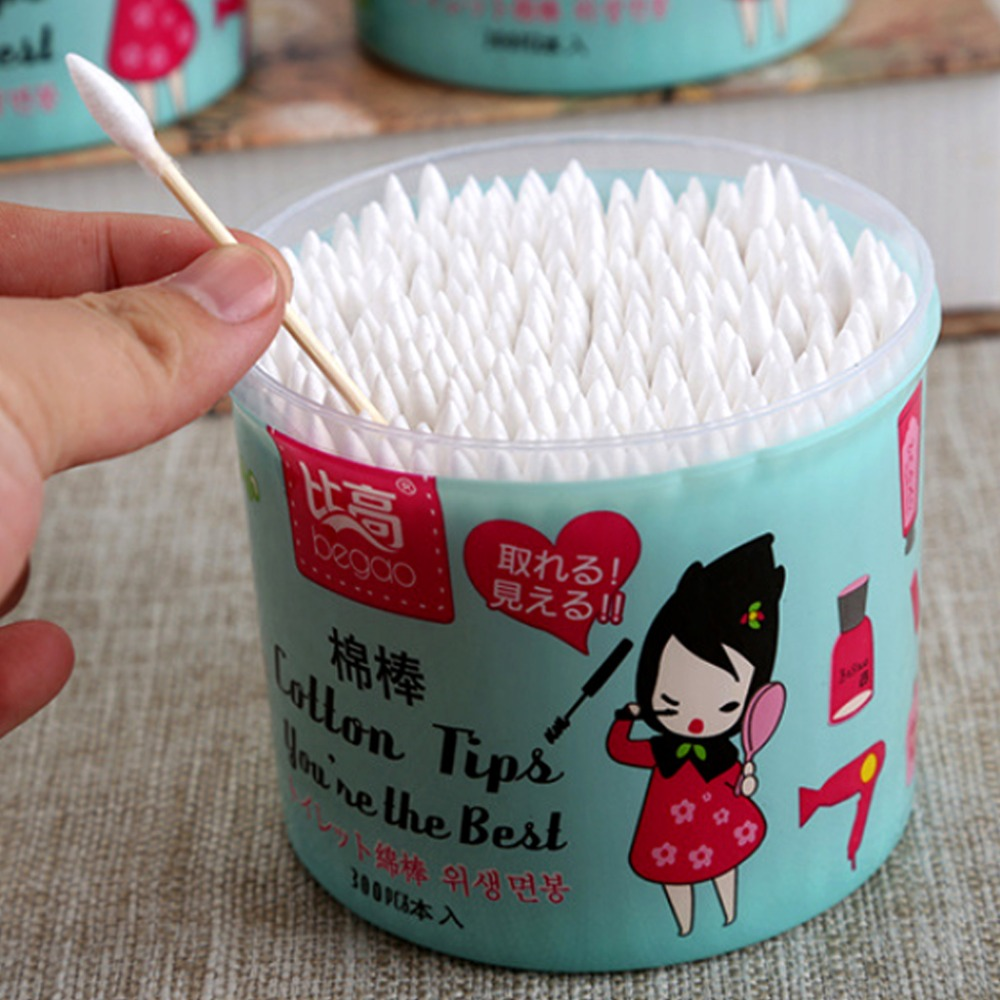 300pcs Bamboo Cotton Swab Wood Sticks Soft Cotton Buds Cleaning Of Ears Tampons