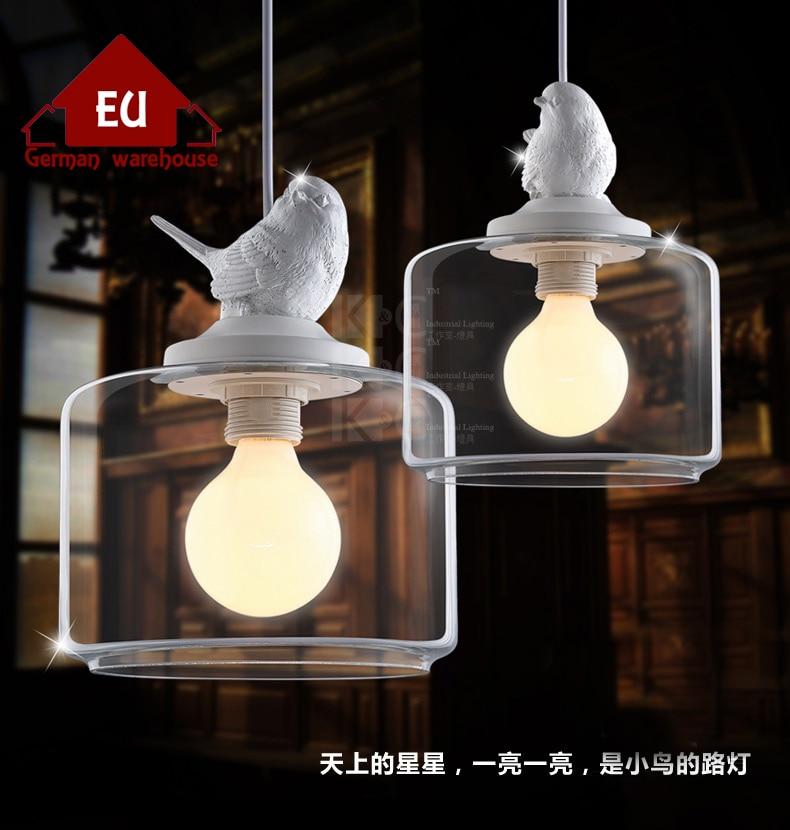 Creatieve plafondlampen hars vogel glazen lampenkap licht witte kleur - Binnenverlichting