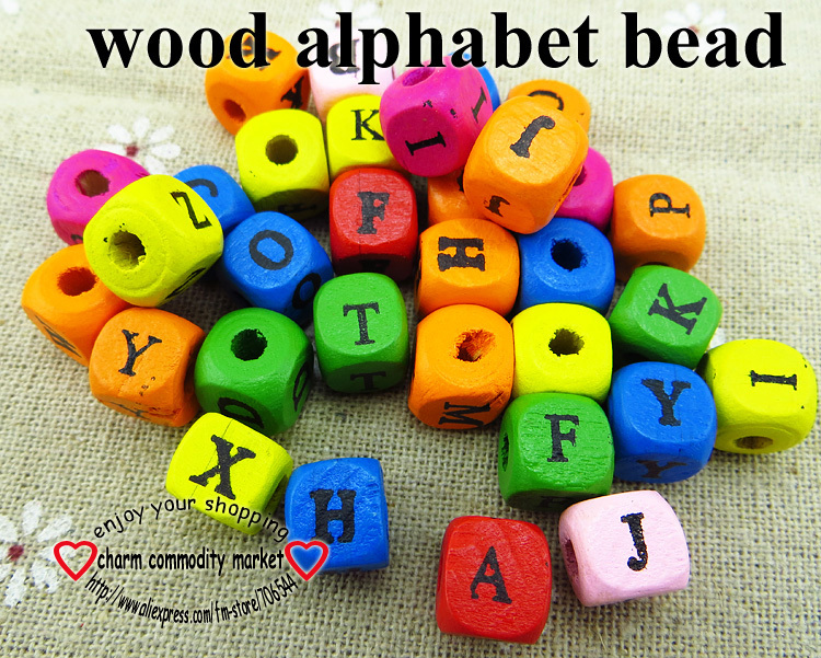 100PCS 10MM Mixed color alphabet LETTER wood beads jewelry findings necklace accessories bracelet accessry WJA-051