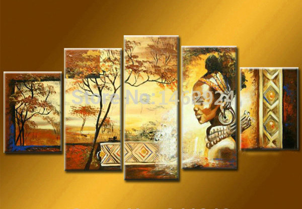 100% Hand Painted Wall Art African Home Decoration Landscape Oil Painting  On Canvas 5pcs