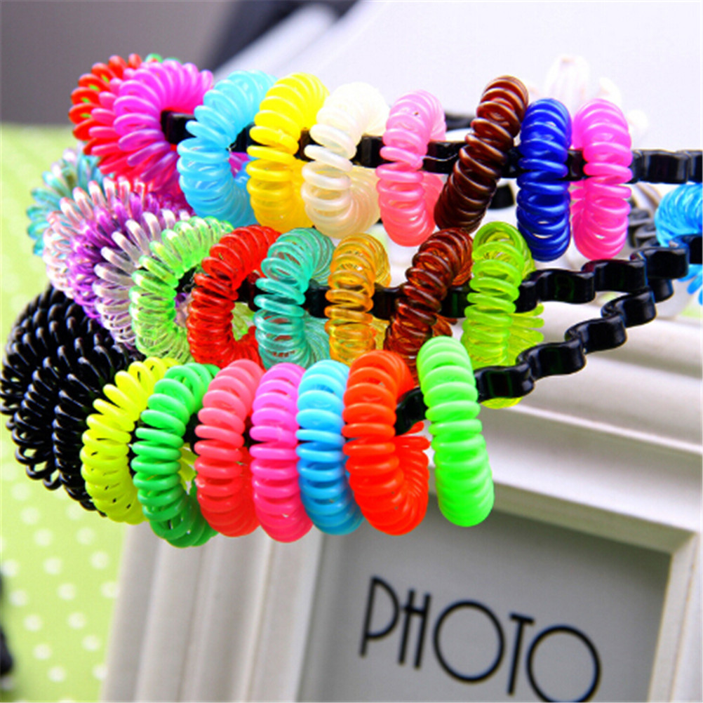 Velishy 10pcs Elastic Hair Bands Cleartelephone Wire Plastic Spring Gum Hair Ties No Crease Coil Ponytail Party Gift Kid Toy Girls' Clothing Accessories