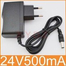 1ピース高品質dc 24ボルト500ma icプログラム交流100ボルトの240ボルトコンバータスイッチング電源アダプタ電源euプラグdc 5.5ミリメートルx 2.1〜2.5ミリメートル