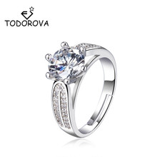Todorova Adjustable Opening Rings for Women AAA Shiny Cubic Zircon Prong Setting Female Luxury Wedding Ring Jewelry huitan anniversary gift rings for women luxury long cubic zircon stone prong setting with cirrus manufacturer direct sale rings